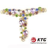 Ktg Nizza Metallschuh-Dekoration des grünes Glas-obere Sandelholz-T für hohen Absatz