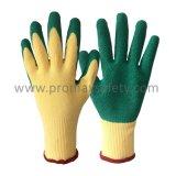 10 guantes revestidos de Polycotton del calibrador del shell del verde de la palma amarillenta del látex