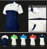 OEMの女性のゴルフTシャツは女性のための適合によって分類されるカラー夏のスポーツシャツを乾燥する
