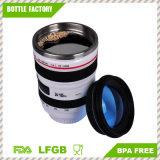 Tasse de course de café d'objectif de caméra - mur isolé de double de cuvette d'acier inoxydable