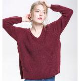 Uitstekende kwaliteit van de Sweater 2017 van de Hals van de Manier Viscose Gebreide V van vrouwen de Nieuwe