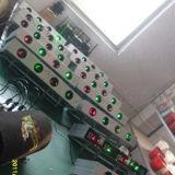 Quattro teste rosse e luce laser verde della discoteca
