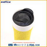 Taza de café de cerámica de la pared del esmalte doble del silicón