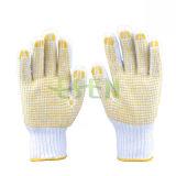Отмечено валик клея перчатки пунктирной безопасности ПВХ пряжи хлопок перчатки