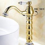 Torneira da embarcação do banheiro da pintura do ouro de Flg com único punho