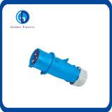 Штепсельная вилка штырей сини 3 Cee 16A 230V промышленной установленная панелью