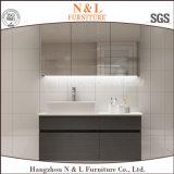 Piso moderno montado en PVC Gabinete de baño con el espejo del gabinete