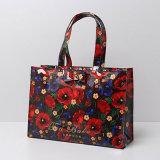 Große wasserdichte Belüftung-rote Blumen-Muster-Einkaufstasche (T044)