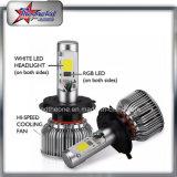 De koele H4 H13 RGB LEIDENE Dubbele Koplamp van de Straal met Bluetooth Controle 9004 de Hoge Koplamp van de Auto van Lumen 9007