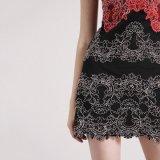 Вышитое платье обеда повелительниц шнурка шикарное безрукавный