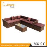 Rattan Aluminium Patio Garden Furniture Ensemble de canapé en mousse en coussin marron