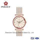 Lederne Armband-Armbanduhr der Quarz-Uhr-Dame-Fashion Vintage Casual Analog