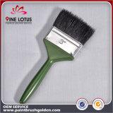 고품질 검정 녹색 플라스틱 손잡이 페인트 붓을%s 가진 순수한 강모 물자