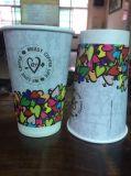 Taza doble impresa cliente del papel de empapelar para el café