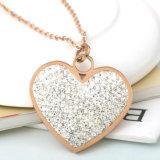 대중적인 여자 형식 보석 긴 목걸이 다이아몬드 심혼 펜던트