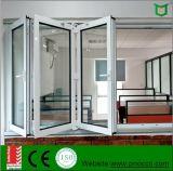 Ventana de aluminio y puerta plegable, ventana de cristal doble plegable y puerta del estilo hechas en la fábrica de China