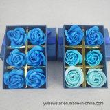 Romantic Artifiial sabão rosa azul Flor amante de caixa para presente