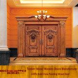 Porta de entrada dobro de madeira da folha do Teak contínuo (GSP1-017)