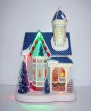 Plastikkirche-Haus der Harz-Weihnachtsdekoration-10 '' mit LED-Lichtern, Weihnachtsbäume in der Vorderseite