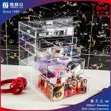 Caixa cosmética acrílica do suporte do organizador da composição dos batons com as 4 gavetas removíveis