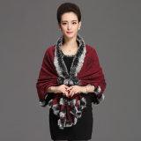Scialle di inverno del collare della pelliccia del Rabbit della signora Fashion Acrylic Knitted (YKY4481)