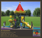 螺線形および波のスライド(KQ50059C)が付いているKaiqiの小さい城のテーマの子供の運動場