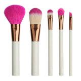 Mango de plástico blanco Cabello Nylon Rojo 5 pedazo de pincel de maquillaje Belleza conjuntos de herramientas