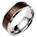Grootte 6-12 van de Ring van het Staal van het Titanium van de Band van de manier Creatieve Brede Houten