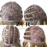 Fibra sintética de rubio cabello corto mujer peluca