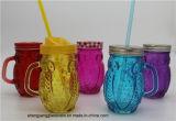 Tazza di vetro della bevanda della tazza di Marson del campione libero del vaso del gufo di modo di vetro di vetro della tazza con il coperchio del metallo