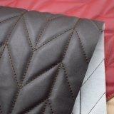 Couro de imitação do plutônio da decoração do bordado da casca de árvore para a mobília do sofá