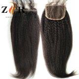 Chiusure brasiliane umane del merletto dei capelli di Remy del merletto 4*4 dell'onda svizzera del corpo