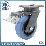 """De """" roda rígida de nylon azul do rodízio do núcleo ferro 6"""