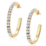 Chapado en oro blanco de mejor calidad Crystal Stud Hoop Earrings
