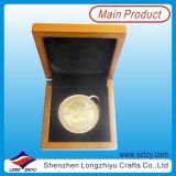 Изысканный цинкового сплава серебряный позолоченный сувенирный бархата окно монеты