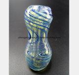 أنابيب زرقاء زجاجيّة 6.3 بوصة مطرقة شكل [وتر بيب] زجاجيّة