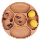 Round Five Grid Beech Wood Non-Paint Tray Zakka Dessert Dish Fruit Plate
