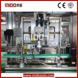 Sola pista de la lubricación automática que sigue la embotelladora que capsula con control del PLC