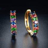 Comercio al por mayor China moda colorida piedra CZ joyas de oro pendientes