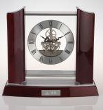 Relógio de mesa de madeira de madeira clássico com movimentos mecânicos