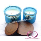 Gang-bereiftes Glas-Sojabohnenöl-Wachs-duftende Kerzen mit hölzernen Deckel-Geschenk-Kerzen