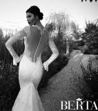 Vestido de casamento longo da sereia de Berta das luvas do vestido nupcial do laço (C2166)