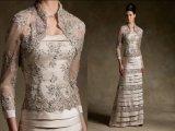 Champagne Lace Satin Mãe dos vestidos da noiva Casacos de renda Vestidos de casamento M1325