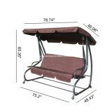 Deluxe 3 plazas de jardín del patio Silla de oscilación / Cama con 2 cojines