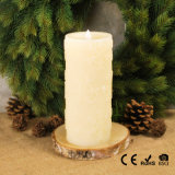 Vela con pilas del pilar de la decoración LED de Chrisrmas, tallando el copo de nieve