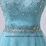 スカラップで仕上げられたテュルの水晶ビーズのサンプル優雅で短いプロムの服