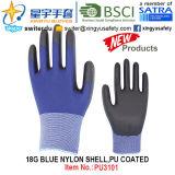 перчатки PU голубой Nylon раковины 18g покрытые (PU3101) с CE, En388, En420, перчатками работы