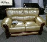sofá do couro da cor de Champagne do iPhone, sofá moderno de 1+2+3 combinações (A06)