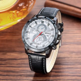 Fashion Wristwatch Multifunction 42mm Metal Case Bracelet en cuir