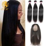 Pre Plucked 360 Lace Frontal avec Wig Cap Ajouter 2PCS Peruvian Straight Hot Beauty Hair 3PCS / Lot 360 Lace Frontal avec Bundles